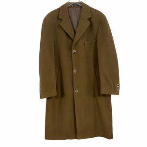 RALPH Ralph Lauren Men's 40R 100% Lambswool Luxurious Long Overcoat Honey Brown